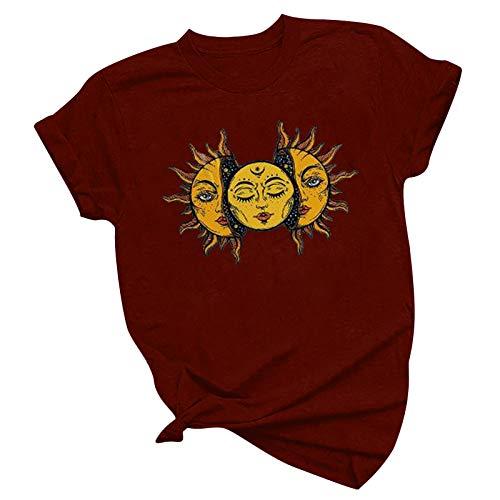 Blusa para mujer, blusa sencilla, camiseta de manga corta, cuello redondo, informal, informal, estampado vintage, color de manga corta