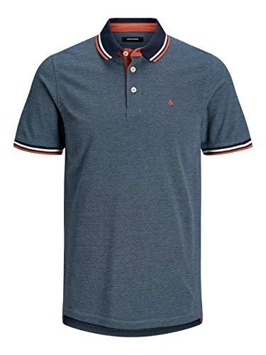 Jack & Jones JJEPAULOS Polo SS Noos Camisa, Azul Vaquero, XL para Hombre