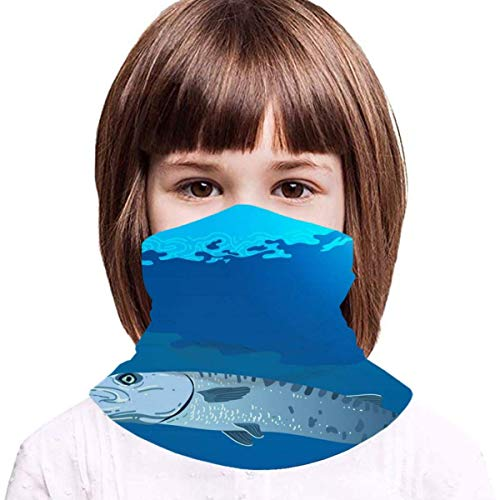 WH-CLA Kids Sibling Barracuda Swimming In The Sea Tube Scarf Multifunctional Face Scarf Uv Protection Headwear Balaclava Sports Facial Decoration For Sports Motorcycling Climbing