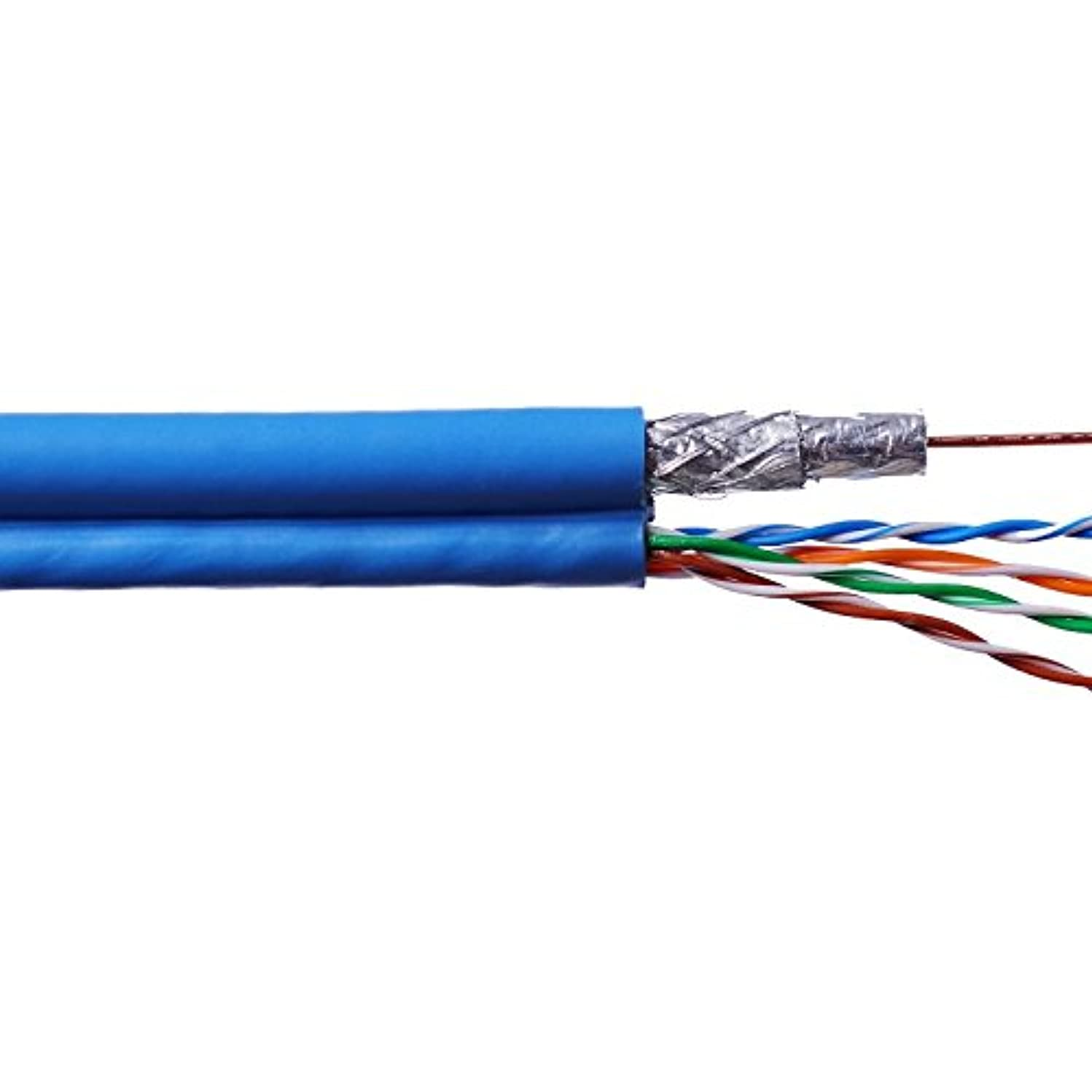 Structured Wire Cable Cabling Voice Video Data Wire Cables 1 24/4PR Cat 5e + 1 RG6 Quad Coax Cable 500FT
