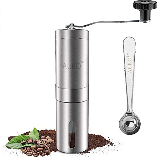 Coffee Grinder Manual, Stainless Steel Coffee Bean Grinder Ceramic Conical Burr Hand Crank Mill with...