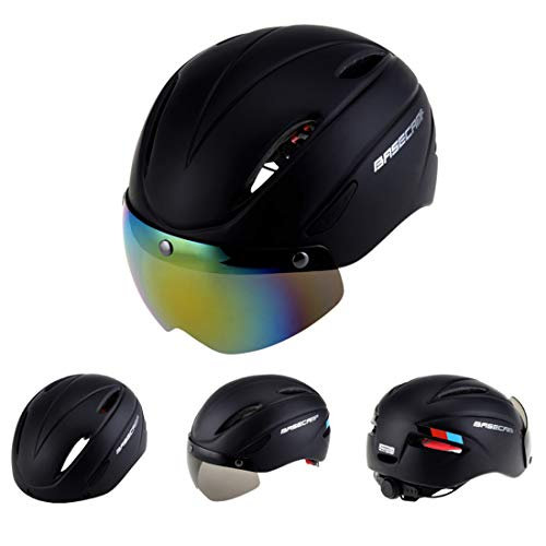 Tuzi Qiuge Lj Base Camp Bunte Männer und Frauen Straße Mountainbike Magnetic Goggles Helme Reitschutzhelm Kopfumfang Fit for 56-62cm QiuGe (Color : Red)