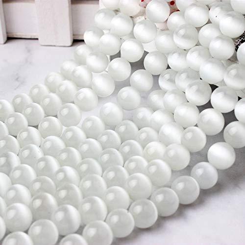 Gendaje Cuentas de Pino de Piedra de Ojo de Gato vidriosas Blancas Naturales Elegantes de 6/8/10/12 Mm aptas para Collares de Pulsera de Mujer DIY Cat Eye Stone-2 6mm 63beads