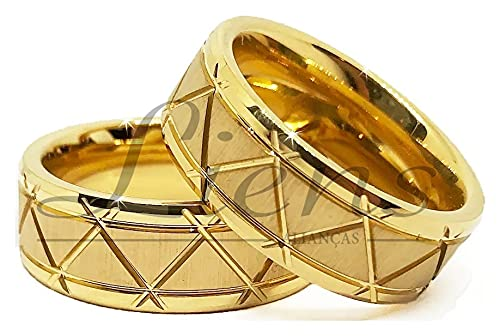 Par de Alianças de Casamento Tungstênio 8mm Banhada a Ouro 18k Modelo Luxo