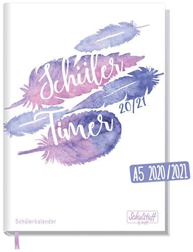 Schulstuff Schülertimer 2020/2021 A5 [Feathers] Schülerkalender, Schüler-Tagebuch, Schülerplaner - organisiert durchs neue Schuljahr | nachhaltig & klimaneutral