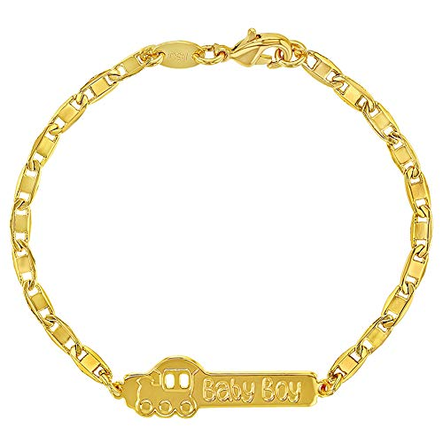 In Season Jewelry 18k Gold Plated Train Baby Boy ID Bracelet for Babies & Toddler 5.5'