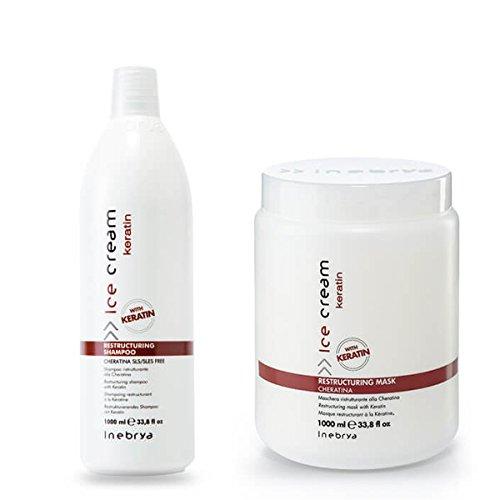 Inebrya Ice online shopping Cream Keratin Mask Set Shampoo Sales of SALE items from new works 1000ML