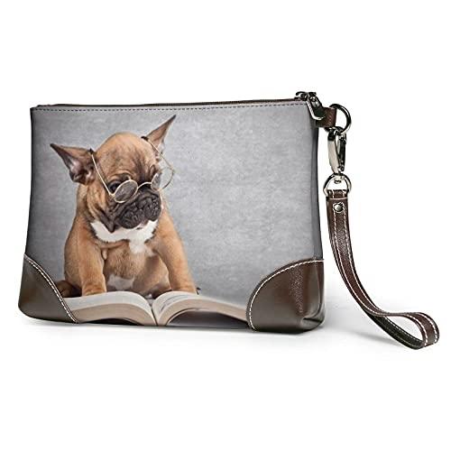 VJSDIUD Cartera de mano con flecos/hebilla con cinturón de animales y perrito impreso bolso de embrague desmontable de cuero para mujer, monederos de pulsera para mujer