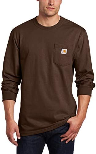 Carhartt mens K126 Workwear Jersey Pocket Long sleeve Regular and Big Tall Sizes work utility product image