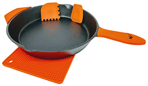 12 Inch Pre Seasoned Cast Iron Skillet Classic Frying Pan with Assist Handle. Includes Two Silicone Handle Grip,One Mat, 2 Scrapers.