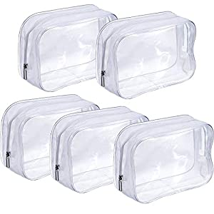 PVC Bolsa Portátil de Maquillaje,Bolsa Cosméticos Transparente 5 Piezas Impermeable Claro Bolsa de Aseo con Cremallera…