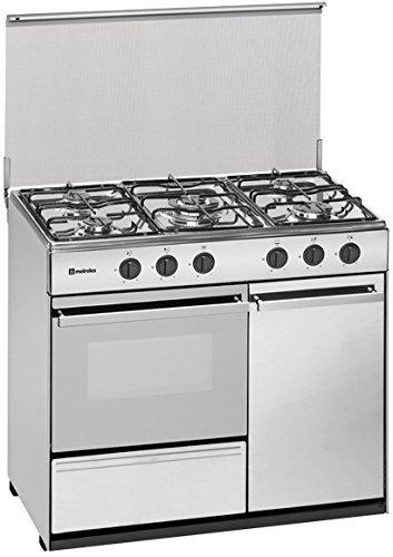 Meireles G 2950 DV - Cocina portabombonas de 90x60cm con 5 quemadores a gas y horno a gas preparada para gás butano/propano, blanco