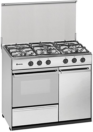 Meireles G 2950 DV – Kitchen 90 x 60 cm Oven and Stove with 5 Gas Burners and Oven and Gas Ready Butane/Propane, White