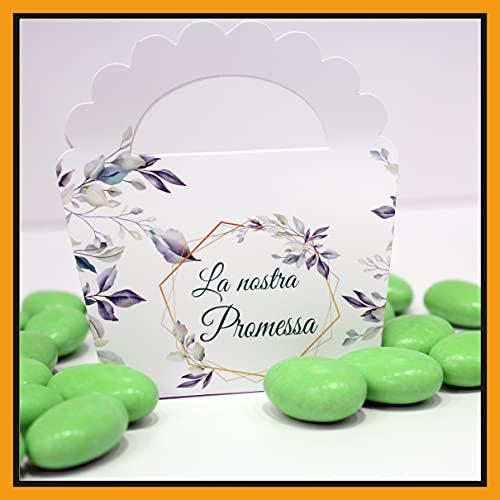 25+25 pezzi - Scatoline Promessa di Matrimonio Bomboniere Portaconfetti n. 25 pezzi + Bigliettini Bomboniera, o fazzoletti per promessi Sposi, 25 pezzi