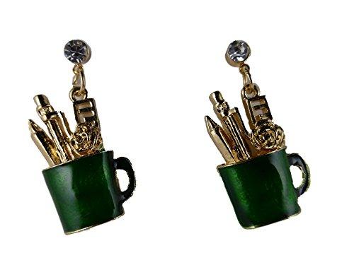 Ohrringe Ohrstecker Stecker goldfarben / grün Becher mit Stiften Büro Sekretärin Schreibtisch 6416