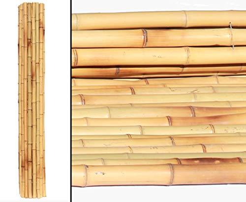bambus-discount.com Bambusrollzaun, Moso gelb Gebleicht, flexibel mittels verzinktem Draht verbunden, 180 x 180cm, Durch. Bambusrohre 4,3-4,7cm