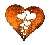 Dekostüberl Rostalgie Edelrost Herz mit Miniherzen groß zum Hängen 23x23cm Gartendekoration Geschenk