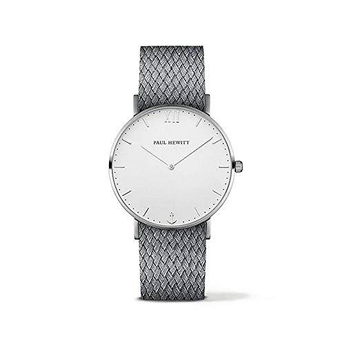 Paul Hewitt Unisex Erwachsene Analog Quarz Uhr mit Nylon Armband PH-SA-S-St-W-18S