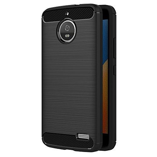 AICEK Moto E4 Hülle, Schwarz Silikon Handyhülle für Motorola Moto E4 Schutzhülle Karbon Optik Soft Hülle (5,0 Zoll)