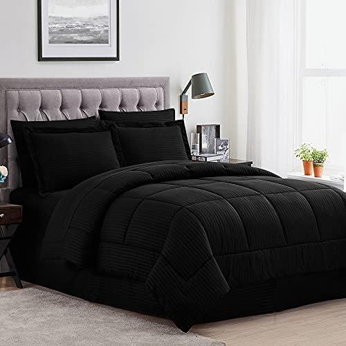 Sweet Home Collection Juego de Funda de edredón de 8 Piezas con diseño único, sábanas, 2 Fundas de Almohada y 2 Fundas de Almohada...