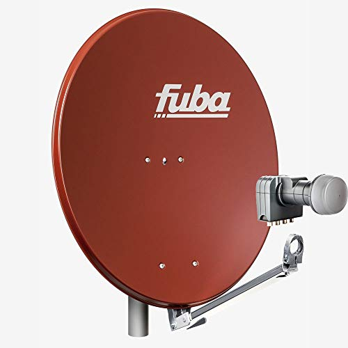 Fuba 4 Teilnehmer Sat Anlage DAL 804 R | Sat Komplettanlage mit Fuba DAL 800 R Alu Sat-Schüssel/Sat-Spiegel Ziegelrot + Fuba DEK 417 Quad LNB für 4 Receiver/Teilnehmer (HDTV-, 4K- und 3D-kompatibel)