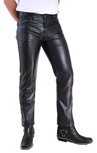 RICANO Lamm Nappa Jeans Herren Lederhose / 5-Pocket Stil (Jeans Optik), Lamm Nappa Echtleder in schwarz (44)