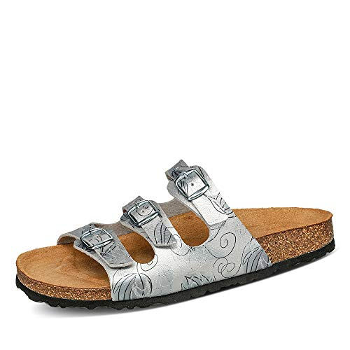 BIOlife 0001. Damen Pantolette aus Lederimitat Textilfutter Lederkorkfußbett, Groesse 37, Silber