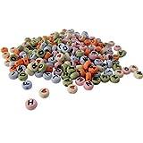 Graine Créative Lot de 250 Perles Plastique Multicolore Pastel, Lettres Noires et Coeurs Rouges, 6x4mm, Alphabet Imprimé Recto-Verso