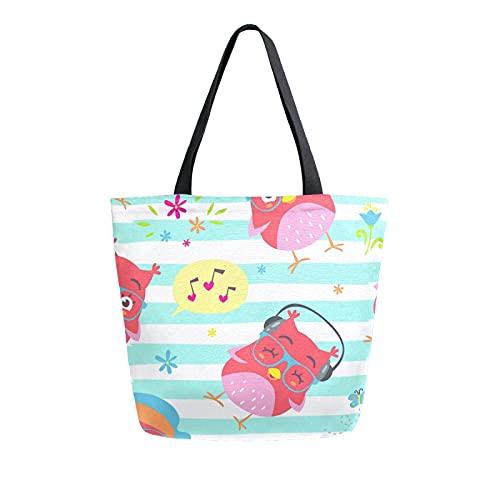 Luckyeah Handtasche für Damen, aus Segeltuch, mit Vogel, Eule, Blume, Schmetterling, Musik, große Umhängetasche, wiederverwendbar