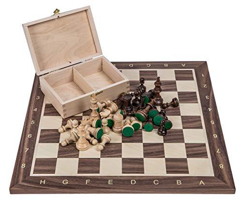 Square - Profesional Ajedrez de Madera Nº 4 - Italia - Tablero de ajedrez + Figuras - Staunton 4