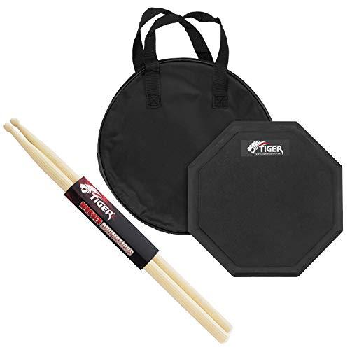 Tiger Drum Practice Pad Con Tiger Hickory 5B Bacchette per Batteria