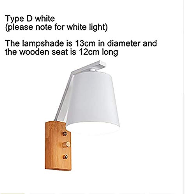 LED Wandleuchte Wohnzimmer Wandleuchte Wandleuchte E27 Nordic Holz Gürtel Wandleuchte wei schwarz, 5