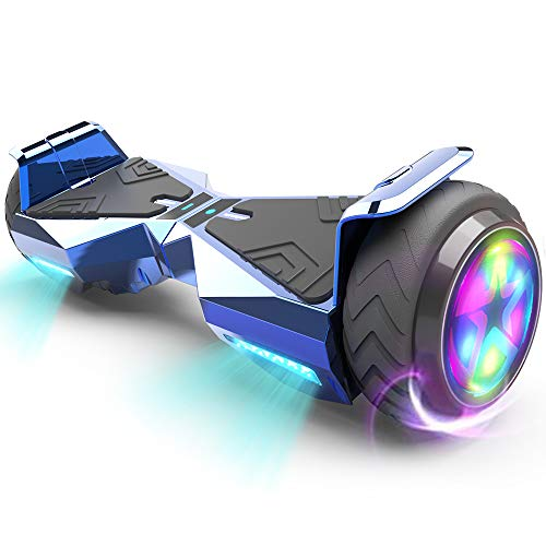HOVERSTAR Hoverboard HS 2.0v Chrome Color Flash Wheel with LED Light Self Balancing Wheel Electric Scooter (Chrome Silver)