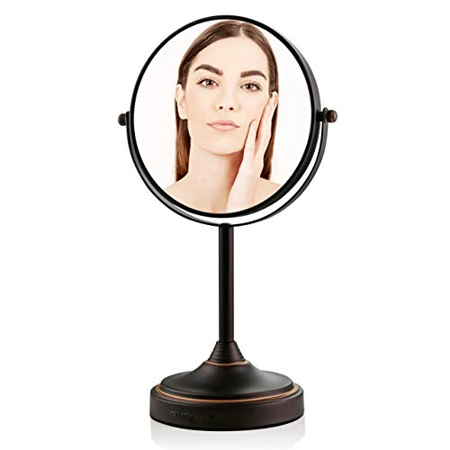 OVENTE Tabletop Makeup Vanity Mirror 7 Inch with 7X Magnification and 360 Degree Smooth Swivel Mechanism, Double-Sided and Zero Distortion Design with Non-Slip Base, Antique Bronze (MNLCT70ABZ1X7X)