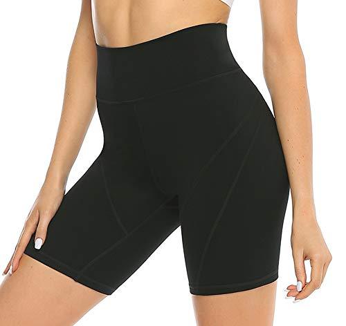 JOYSPELS Kurze Sporthose Damen, High Waist Yoga Sport Shorts Leggings für Sommer, Leggins Kurze Radlerhose Yogahose für Sport Gym Bike Alltag (Schwarz, 36-38)