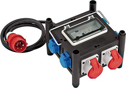 Brennenstuhl Kompakter Gummi-Stromverteiler (2 m Kabel, 2x CEE 400V/16A, 5x 230V/16A, Baustelleneinsatz und ständigen Einsatz im Freien, mit FI-Schalter)