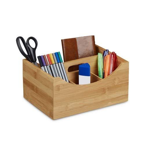 Relaxdays Schreibtischorganizer Bambus, Stifteköcher, 4 Fächer, Griff, natürliche Maserung, HxBxT: ca. 12 x 25 x 18 cm, natur
