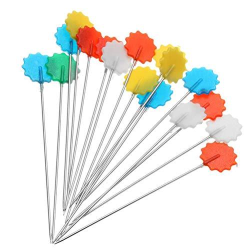 Vosarea 100pcs Plum Blossom Head Pins Blume Plastic Head Push Pins Patchwork Pins für Nähen DIY Kunsthandwerk (Farbe zufällig)