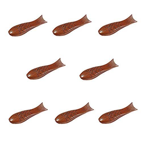 8 piezas de tambor redondo de pescado palillos de descanso soporte de estilo japonés de madera natural palillos soporte para el hogar restaurante cocina mesa estante
