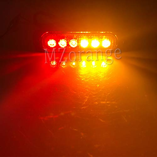 Generic MZORANGE 12V-24V 19 Patterns Led Strobe Warning Light Strobe Grille Flashing Lightbar Truck Car Beacon Lamp Amber Traffic light Emitting Color Red and Yellow Color Temperature 4 Pieces