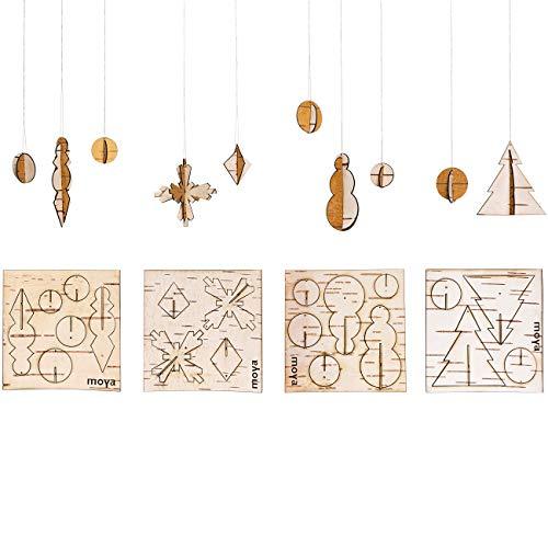 MOYA Christbaumschmuck-Natur, Weihnachts-Deko, Birke Birkenrinde Holz, DIY-Set-Kit zum Basteln mit Gold Faden, Anhänger, Geschenkidee Weihnachten nachhaltig/Karten flach 10x10cm / 4 Motive