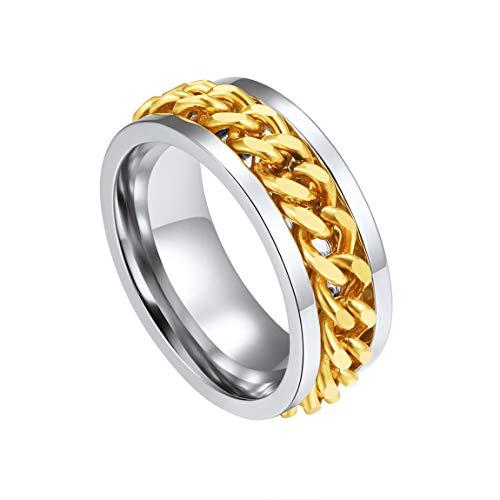 ChainsPro Anillo Plateado/Dorado para Dedos Anillo Acero Inoxidable de Dos Tonos Cadenas Giratorias Joyería Simple de Regalo Talla 11 para Hombres y Mujeres