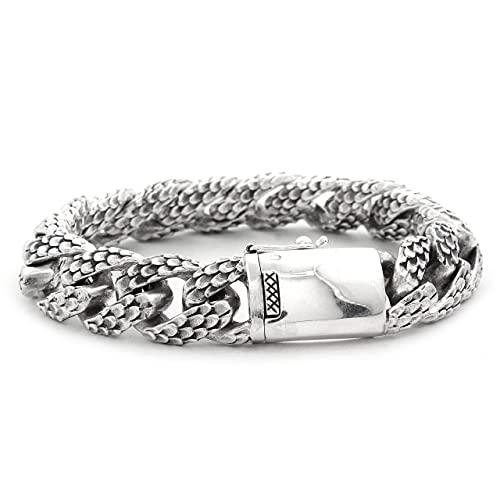 Shadi - Pulsera de plata hombre eslabones piel de dragon - joyería de plata artesanal