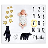 Baby Stuffes Baby Milestone Blanket for Baby Girl or Boy, Super Soft Bear & Paw Print Large Fleece, 47' x 43', Includes Frame, Great for Capturing Memories