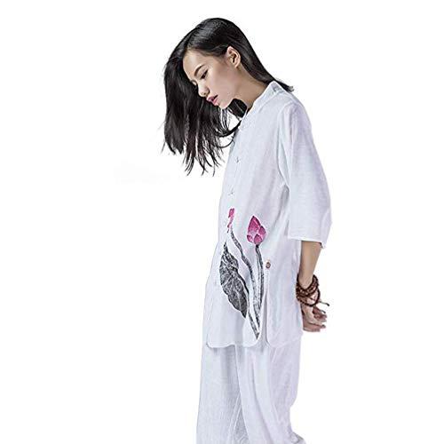 Tai Chi Uniform Kleidung Unisex Chinese Traditional Baumwolle Seide Stretch Taichi Anzug Tai Chi Übung Taekwondo Training Wing Chun Zen Meditation Kleidung, Weiß, XXL ( Color : White , Size : Large )