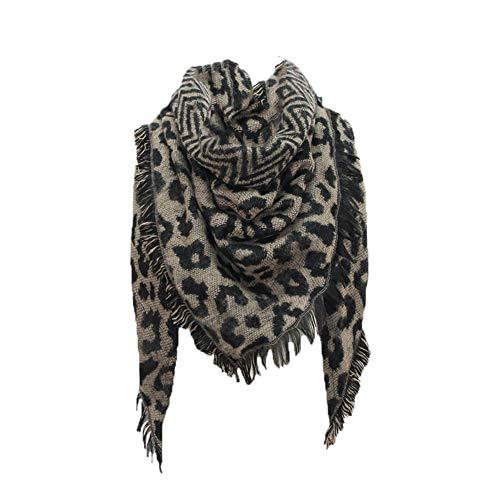 Hunpta@ – Bufanda para Mujer, diseño de Leopardo, Larga Envoltura para la Cabeza, para Mujer, café, Talla única