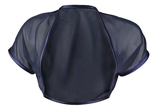Grace and Flair Navy Blue Chiffon Short Sleeve Bolero Shrug Size 10