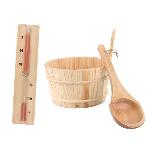 Yebobo 3 Teiliges Sauna Eimer Sch?Pf L?Ffel Kit Zubeh?R und Sauna Timer für Handgefertigte Sauna und SPA Saunareimer und L?Ffel