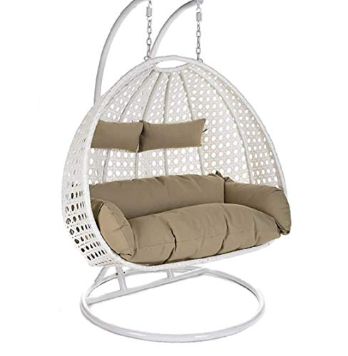 Sapphire Double Seater Heavy Iron Hanging Egg Swing Lounge Chair with Tufted Soft Deep Cushion Backyard Relax for Indoor, Outdoor, Balcony, Deck, Patio, Home & Garden (White & Beige)