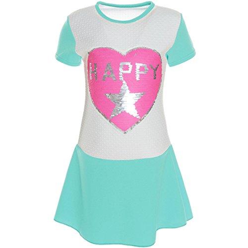 BEZLIT Kinder Mädchen Wende-Pailletten Kleid Peticoat Fest Kleider Sommerkleid 21224 Grün Größe 140